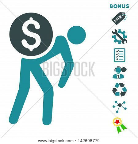 Financial Courier icon with bonus pictograms. Vector illustration style is flat iconic bicolor symbols, soft blue colors, white background, rounded angles.