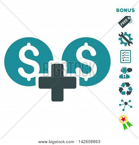 Financial Sum icon with bonus pictograms. Vector illustration style is flat iconic bicolor symbols, soft blue colors, white background, rounded angles.