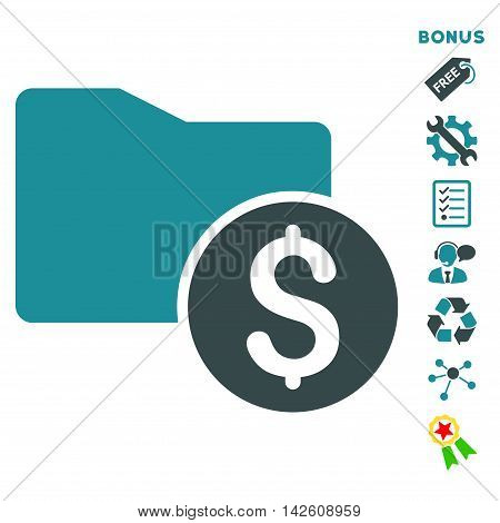 Money Folder icon with bonus pictograms. Vector illustration style is flat iconic bicolor symbols, soft blue colors, white background, rounded angles.