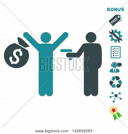 Thief Arrest icon with bonus pictograms. Vector illustration style is flat iconic bicolor symbols, soft blue colors, white background, rounded angles.
