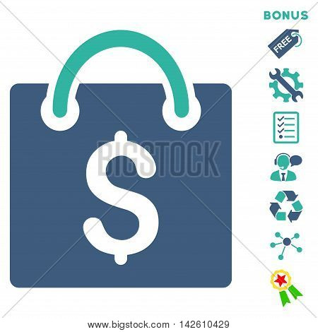Shopping Bag icon with bonus pictograms. Vector illustration style is flat iconic bicolor symbols, cobalt and cyan colors, white background, rounded angles.