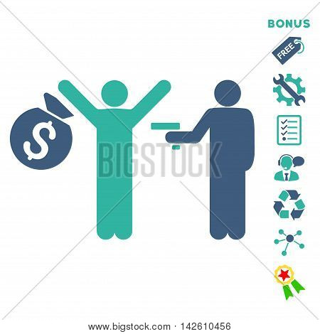 Thief Arrest icon with bonus pictograms. Vector illustration style is flat iconic bicolor symbols, cobalt and cyan colors, white background, rounded angles.