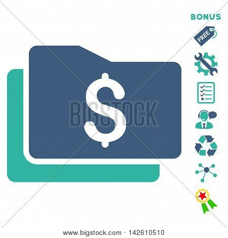 Wallet icon with bonus pictograms. Vector illustration style is flat iconic bicolor symbols, cobalt and cyan colors, white background, rounded angles.