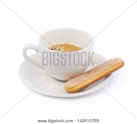 White ceramic cup of coffee with a savoiardi ladyfinger cookie on a plate, composition isolated over the white background