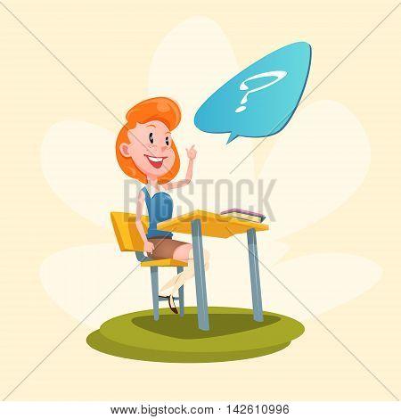 Girl Sit School Desk With Raised Hand Lesson Flat Vector Illustration