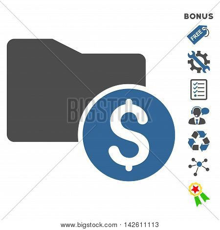 Money Folder icon with bonus pictograms. Vector illustration style is flat iconic bicolor symbols, cobalt and gray colors, white background, rounded angles.