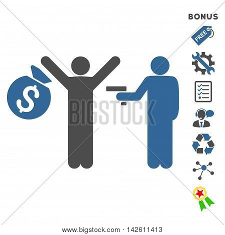 Thief Arrest icon with bonus pictograms. Vector illustration style is flat iconic bicolor symbols, cobalt and gray colors, white background, rounded angles.