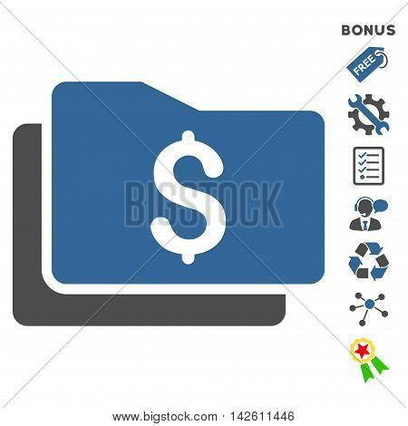 Wallet icon with bonus pictograms. Vector illustration style is flat iconic bicolor symbols, cobalt and gray colors, white background, rounded angles.