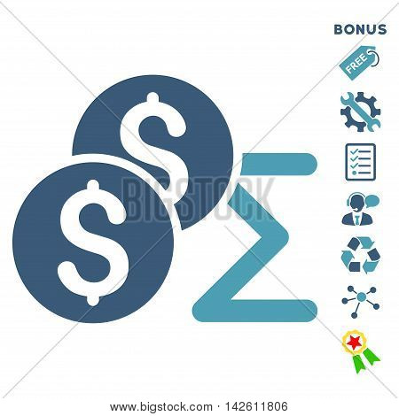 Coin Summary icon with bonus pictograms. Vector illustration style is flat iconic bicolor symbols, cyan and blue colors, white background, rounded angles.
