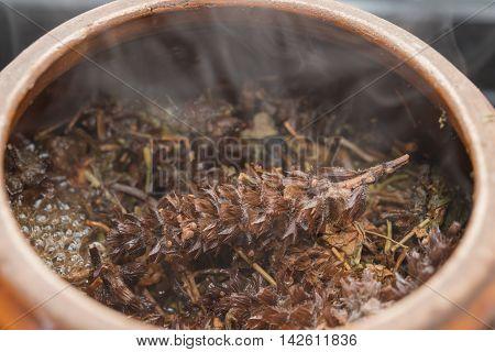 decocting medicinal herbs with enamel pot close up