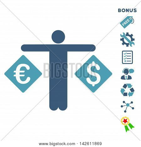 Currency Trader icon with bonus pictograms. Vector illustration style is flat iconic bicolor symbols, cyan and blue colors, white background, rounded angles.