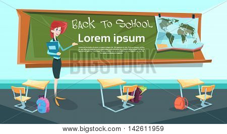 Teacher Over Class Board Classroom Back To School Banner Flat Vector Illustration