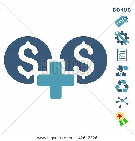Financial Sum icon with bonus pictograms. Vector illustration style is flat iconic bicolor symbols, cyan and blue colors, white background, rounded angles.