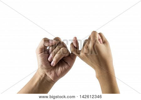 Men and Woman Hands Promise. friendship of generations. isolated on white background.