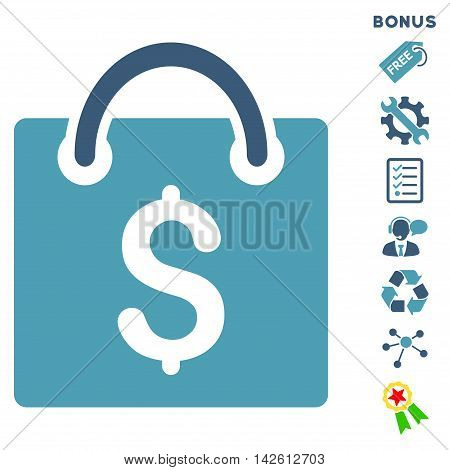Shopping Bag icon with bonus pictograms. Vector illustration style is flat iconic bicolor symbols, cyan and blue colors, white background, rounded angles.
