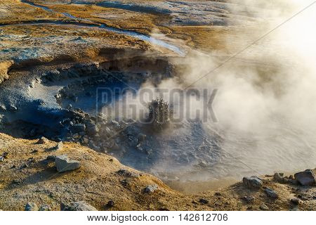 Boiling mud in the mudpot at Hverir geothermal area in north Iceland