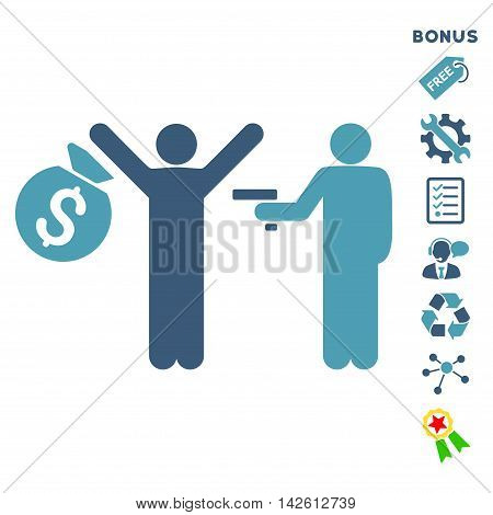 Thief Arrest icon with bonus pictograms. Vector illustration style is flat iconic bicolor symbols, cyan and blue colors, white background, rounded angles.