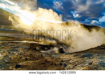 Boiling mud at Hverir geothermal area in North Iceland