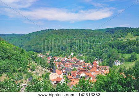 Village of Steinbach at Rennsteig Hiking Trail near Bad Liebenstein in thuringian Forest,Thuringia,Germany