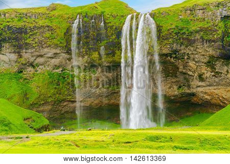 View of Seljalandsfoss the water fall in the South Region of Iceland
