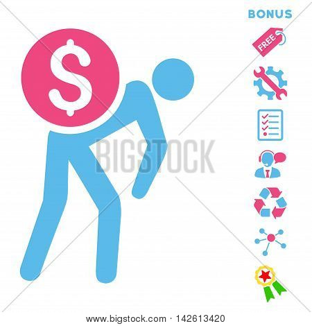 Financial Courier icon with bonus pictograms. Vector illustration style is flat iconic bicolor symbols, pink and blue colors, white background, rounded angles.