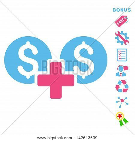Financial Sum icon with bonus pictograms. Vector illustration style is flat iconic bicolor symbols, pink and blue colors, white background, rounded angles.
