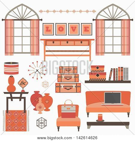 Living room furniture and accessories in coral red with windows on white background