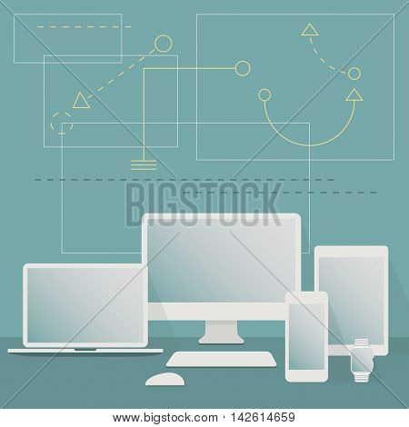 Modern white Digital Devices set on teal graphical pattern background