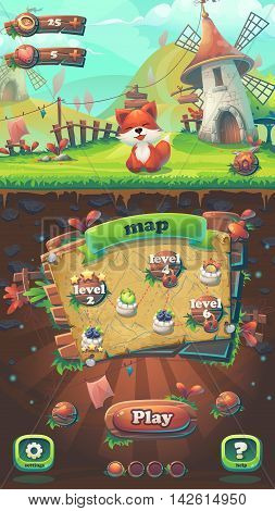 Feed the fox GUI match 3 map window - cartoon stylized vector illustration mobile format with options buttons game items.