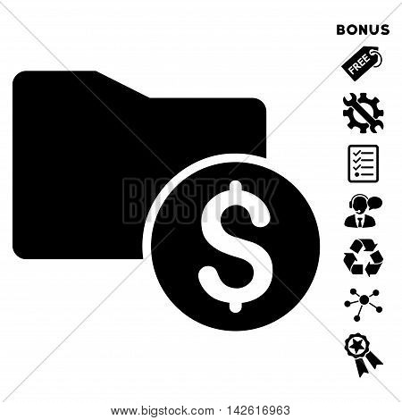 Money Folder icon with bonus pictograms. Vector illustration style is flat iconic symbols, black color, white background, rounded angles.