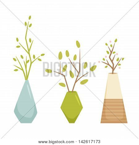 Flower in vase. Interior home and office vase plant. Houseplant cartoon vector illustration. Interior pot decoration. Flowerpot growth and gardening.