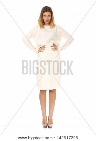 Portrait Of Beautiful Woman In White Skirt