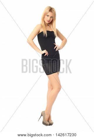Portrait Of Beautiful Woman In Black Skirt