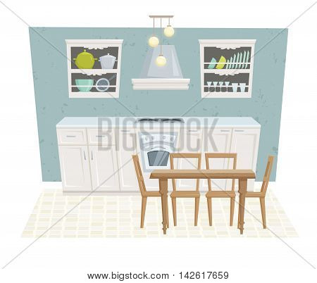 Kitchen interior with furniture and decoration in modern style. Kitchen interior cartoon vector illustration. Kitchen furniture: table, container, cabinet, stove, chairs, shelf. Classical interior