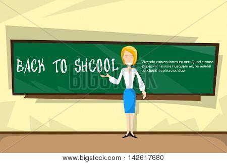 Teacher Over Class Board Back To School Banner Flat Vector Illustration