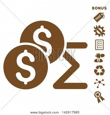 Coin Summary icon with bonus pictograms. Vector illustration style is flat iconic symbols, brown color, white background, rounded angles.