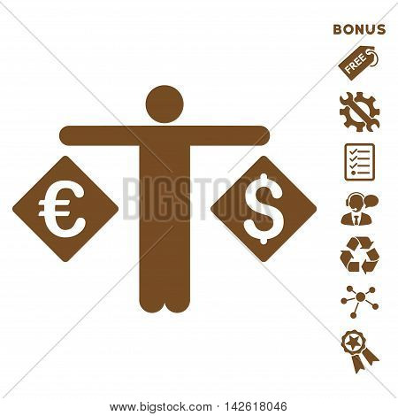 Currency Trader icon with bonus pictograms. Vector illustration style is flat iconic symbols, brown color, white background, rounded angles.