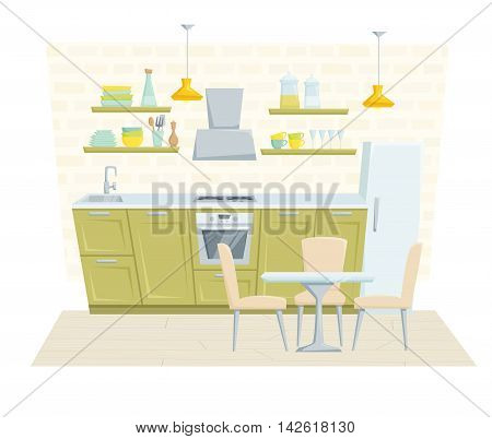 Kitchen interior with furniture and decoration in modern style. Kitchen interior cartoon vector illustration. Kitchen furniture: table, container, cabinet, cooler, stove, chair, shelf. Modern interior