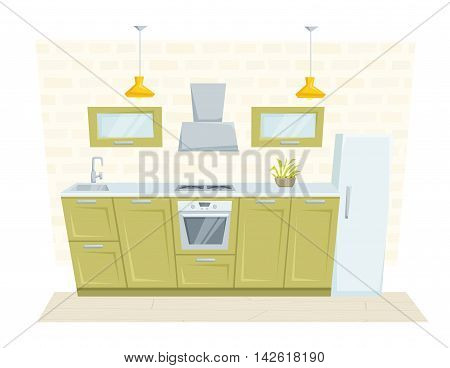 Kitchen interior with furniture and decoration loft style. Kitchen interior cartoon vector illustration. Kitchen furniture: container, cabinet, cooler, stove, refrigerated, cupboard. Modern interior