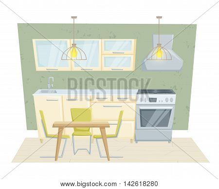 Kitchen interior with furniture and decoration in modern style. Kitchen interior cartoon vector illustration. Kitchen furniture: table, container, cabinet, stove, chairs. Modern interior