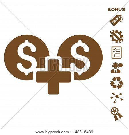 Financial Sum icon with bonus pictograms. Vector illustration style is flat iconic symbols, brown color, white background, rounded angles.