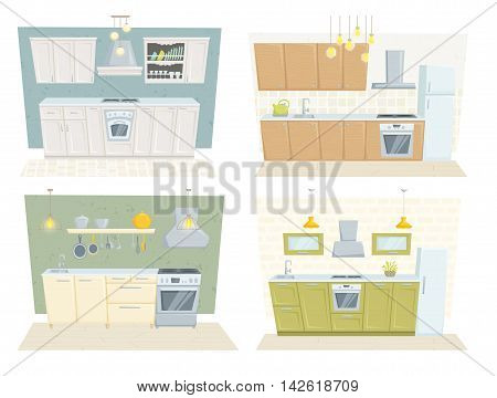Kitchen interior with furniture and decoration set. Kitchen interior cartoon vector illustration. Kitchen furniture: table, container, cupboard, cabinet, cooler, stove, chair, shelf. Modern interior