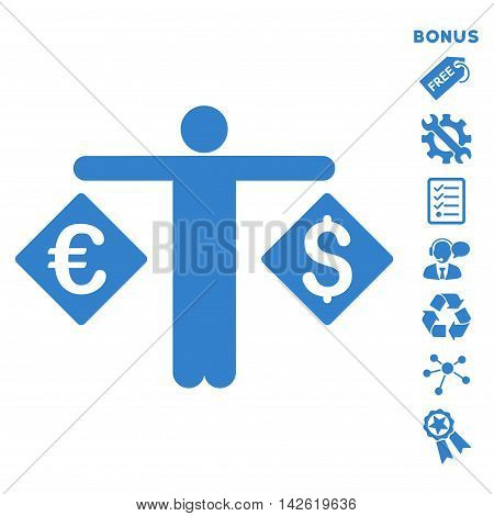 Currency Trader icon with bonus pictograms. Vector illustration style is flat iconic symbols, cobalt color, white background, rounded angles.