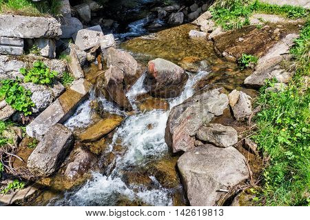 Mountain River on the way to Mount Hoverla Karpaty Ukraine