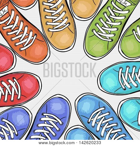 Sportingly colorful poster to advertise sports shoes. Vector illustration