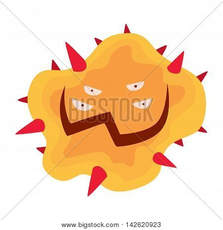 Cartoon viruses characters vector illustration organism biology. Isolated cartoon viruses characters on white background. Funny vector graphic infection cartoon viruses characters bacteria ugly.