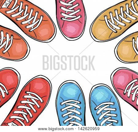 Sportingly colorful poster to advertise sports shoes.Background with sneakers. Vector illustration