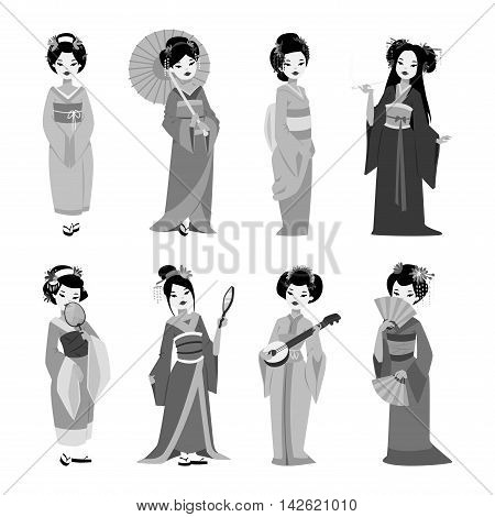 Vector kokeshi doll japanese geisha girl character. Kimono pretty traditional woman beautiful makeup japanese geisha girl. Japanese geisha girl fashion culture beauty art.