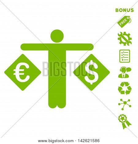 Currency Trader icon with bonus pictograms. Vector illustration style is flat iconic symbols, eco green color, white background, rounded angles.