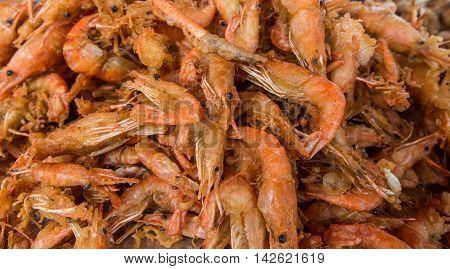 Deep fried shrimp, Group of fried shrimp on pan.